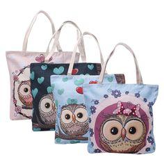 Women Leisure Large Capacity Cartoon Owl Canvas Shoulder Bag Zipper Handbag