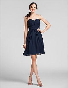 Sheath/Column Sweetheart Knee-length Chiffon Bridesmaid Dress - CAD $ 95.28
