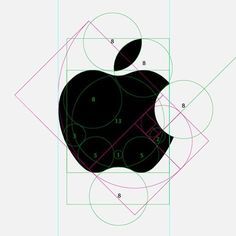 Golden Ratio/Ancient Geometry Apple Logo / well done design / sketching / process / branding / inspiration Illustration Inspiration, Graphic Design Inspiration, Identity Design, Visual Identity, Coperate Design, Good Design, Symbol Design, Circle Design, Logo Apple