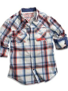 5bfbac75c91ee Amazon.com  Guess Little Boys  Roll Plaid Woven (5 6)  Button Down Shirts   Clothing