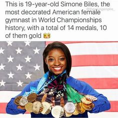 Simone Biles-World Champion Gymnast 2016 Gymnastics Equipment For Home, Gymnastics Team, Gymnastics Things, Usa 2016, Simone Biles, Gabby Douglas, Female Gymnast, Gym Quote, Sport Quotes