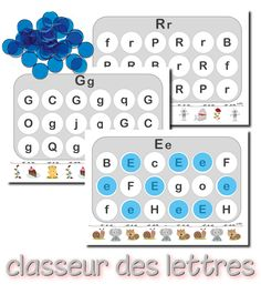 Fun alphabet game in French. Kindergarten Literacy, Literacy Centers, French Alphabet, Reading Buddies, Uppercase And Lowercase Letters, Kids Learning Activities, Letter Recognition, Lower Case Letters, Lettering