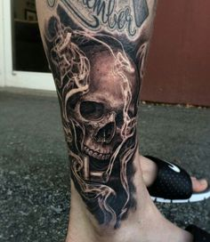 Are you the one who love tattoos? If yes, then try sugar skull tattoo designs. Unique skull tattoos have been used in diverse culture and tri Best Leg Tattoos, Leg Tattoo Men, Badass Tattoos, Arm Tattoos For Guys, Forearm Tattoos, Body Art Tattoos, New Tattoos, Cool Tattoos, Tattoo Arm