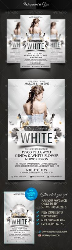 White Classy Sensation Party Flyer Template - GraphicRiver Item for Sale