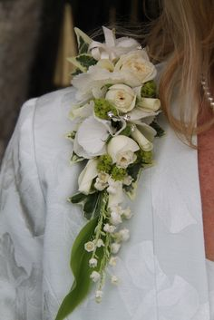 The epaulette Corsage of fresh Lily of the Valley, 4 Good Roses with Rolled Petals and Hydrangea florets
