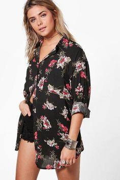 8e9a67b1701a boohoo Stella Floral Print Oversized Shirt