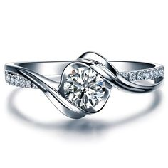482.00--Twisted Round Cut Diamond Engagement Ring 14k White Gold or Yellow Gold Art Deco Diamond Ring