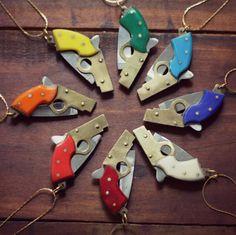 gun pocket knife necklace