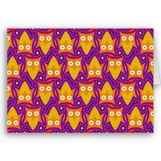Blue and Orange Owl Greeting Card $3.35
