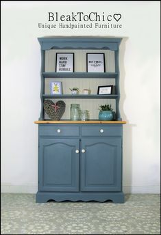 Hand Painted Solid Pine Welsh Dresser De Nimes Colour Recipe Annie Sloan Hand Painted Solid Pine Welsh Dresser De Nimes Colour Recipe Annie Sloan Jenny Lee jenifurly Welsh dresser Excited to share this nbsp hellip Blue Gray Kitchen Cabinets, Kitchen Dresser, Pine Furniture, Furniture Makeover, Kitchen Furniture, Decoupage Furniture, Upcycled Furniture, Pine Dresser, Welsh Dresser
