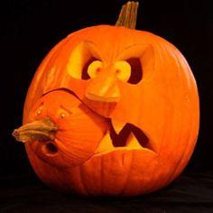 pumpkin eats baby pumpkin Halloween -