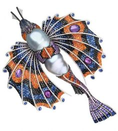 Brooch-pendant by Autore, 18K white and rose gold, baroque pearl, moonstone, blue, orange and purple sapphires, black and white diamonds