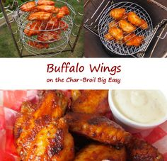 Boy howdy, these Buffalo wings made on the Char-Broil Big Easy came out great! 30 minutes marinating, 30 or so minutes cooking and it's time to devour some traditional-flavored wings. I used the Big Easy Cooking Rack, which lets you cook on up to 6 different levels, enough room for a family pack (around 4 pounds) of wings. You can also use the standard Big Easy basket along with the bunk bed basket, but you won't be able to cook as many wings at once.