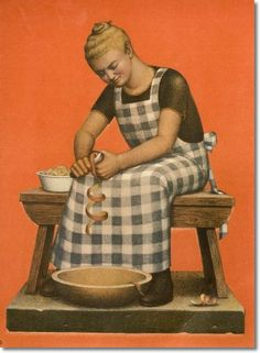 Grant Wood -- Folk Art Illustrations from Farm on the Hill -- Hired Girl with Apples Painting