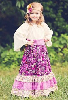 Bohemian Chic Girls Maxi Dress  Peasant skirt and by pinkmouse, $59.00