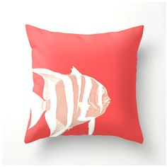 Coral and White Fish decorative throw pillow  beach by BonnieBruno, $35.00