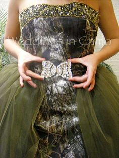 Weddings in Camo - Exclusively Made in the USA-Bridal Attire Camo Ball Gown with Rhinestone Buckle