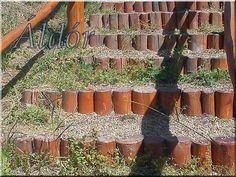 Csiszolt cölöpökből kerti lépcső Firewood, Pergola, Stairs, Texture, Crafts, Surface Finish, Woodburning, Stairway, Manualidades