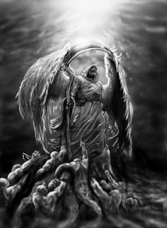 LosElegidos by healmental on DeviantArt The Reaper, Grim Reaper Art, Grim Reaper Tattoo, Demon Tattoo, Ange Demon, Demon Art, Angel Of Death Tattoo, Angel Warrior Tattoo, Warrior Tattoos