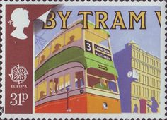 Europa. Transport and Mail Services in 1930's 31p Stamp (1988) Glasgow Tram No. 1173 and Pillar Box
