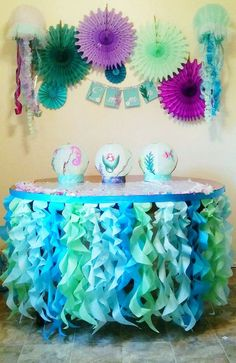 Under the Sea table skirt or photo backdrop tissue tentacles satin ribbon for ocean party or photo shoot Aqua mint turquoise ruffle skirtPastel ruffle table skirt Curly Willow pink Peach mint Aqua lavender light yellow perfect for unicorn party sprin Under The Sea Theme, Under The Sea Party, Birthday Party Decorations, Birthday Parties, Ocean Party Decorations, Tea Parties, 5th Birthday, Birthday Ideas, Under The Sea Decorations