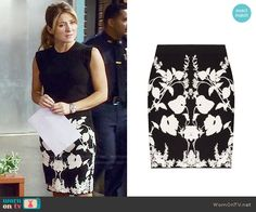 Maura's black and white floral skirt on Rizzoli and Isles. Outfit Details: https://wornontv.net/59542/ #RizzoliandIsles