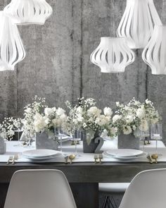 """Pretty paper chandeliers See the """"Sweeten Up Concrete"""" in our White and Gray gallery"""