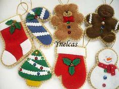 Felt Christmas Ornaments, Handmade Felt Christmas Ornament, Felt Christmas Decoration  - Set of 7. $45.00, via Etsy.