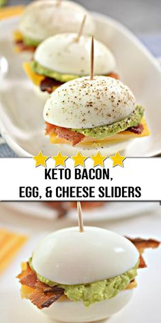 These Keto Bacon, Egg, and Cheese Sliders are the perfect low carb appetizer to please any crowd! These Keto Bacon, Egg, and Cheese Sliders are the perfect low carb appetizer to please any crowd! Comida Keto, Bacon Egg And Cheese, Cream Cheese Recipes, Low Carb Appetizers, Crowd Appetizers, Appetizer Recipes, Diet Food List, Diet Foods, Keto Snacks