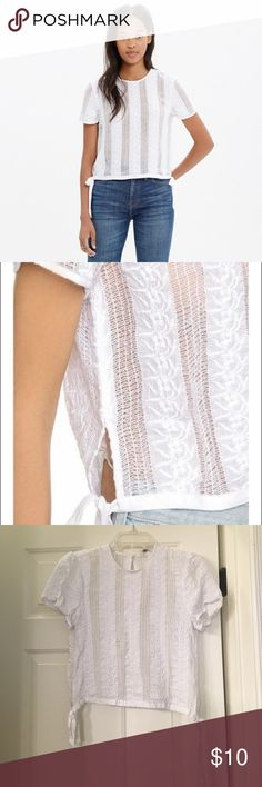 MADEWELL LACE CROP Madewell. Lace. White crop. Tie side. Small. Small hole in lace as pictured. Madewell Tops Crop Tops