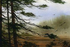Misty Forest Bay Painting  - Misty Forest Bay Fine Art Print
