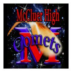 McCluer High Comet on Starfield Print