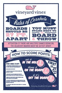 Vineyard Vines guide to Cornhole! Necessity for tailgating! Perfect for The Grove at Ole Miss! Just In Case, Just For You, Let It Be, Summer Fun, Summer Time, Cornhole Tournament, Cornhole Boards, Diy Cornhole, Cornhole Designs