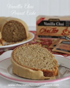 Vanilla Chai pound Cake-A delightful blend of vanilla and spice using Bigelow Tea for a unique flavor. Chai in the cake and the icing. Köstliche Desserts, Delicious Desserts, Yummy Food, Sweet Recipes, Cake Recipes, Dessert Recipes, Vanilla Recipes, Vanilla Chai, Cupcake Cakes