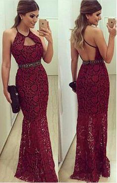 Fashion Lace Beaded Halter prom dresses,long prom dresses #prom #promdress #dress #eveningdress #evening #fashion #love #shopping #art #dress #women #mermaid #SEXY #SexyGirl #PromDresses