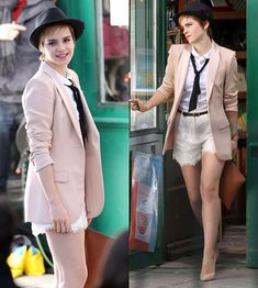 Emma Watson and some great lace shorts, well styled.