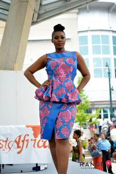 African Wax Print Color Block Peplum Top and Pencil Skirt