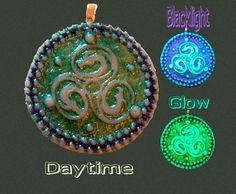 Glow in the Dark triskele celtic dragon Pendant by EyeGloArts, $40.00