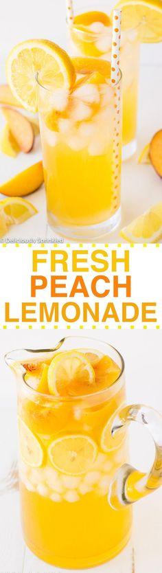 FRESH PEACH LEMONADE RECIPE: SUPER EASY TO MAKE & TASTE SO GOOD!!!!!