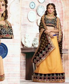 Picture of Beauteous Cream And Black Lehenga Saree