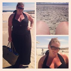 A beach #ootd; the 'Monaco' swimsuit from @monifcplussizes & wide leg black jersey palazzo pants (last year) @asos. Straw bag is from the Bahamas and glasses are Gucci. #beachliving #style #plussize #plussizeswimwear