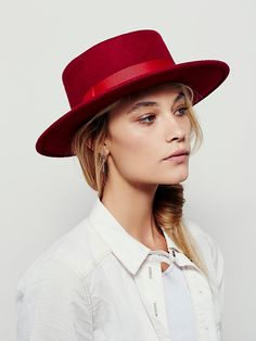 Classic High Crown Boater | Classic and super chic boater style wool hat with a high crown.  Grosgrain ribbon band.