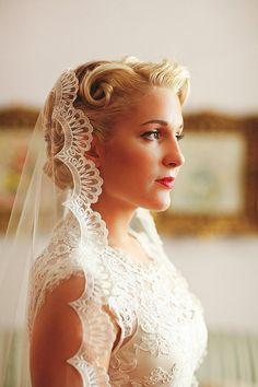 Wedding Veil Handmade Chapel Lace Bridal Mantilla by AlisaBrides Mantilla style veil, sitting on the top back of the hair :)