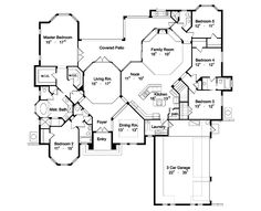 House Plan 63021 - Florida, Mediterranean Style House Plan with 3424 Sq Ft, 5 Bed, 4 Bath, 3 Car Garage Florida House Plans, Coastal House Plans, Luxury House Plans, Dream House Plans, House Floor Plans, Dream Houses, Contemporary House Plans, Modern House Plans, Small House Plans