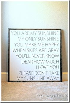 Never tire of this cute song.  Love the way she makes these signs.  Simple and clean looking  I sang this to my boys when they where little and still do! They just dont like it as much now, lol!