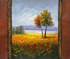 Canvas Art - Wall Art finished in USAHistory: Late Summer Splendor is a hand finished canvas oil painting. Vertically framed in a wood-like fashion, this canvas art gives yo