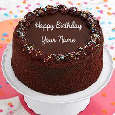 Three Layer Chocolate Happy Birthday Cake With Name