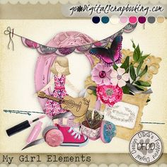 My Girl Elements digital scrapbooking kit| February 2017 Mixology Dana's Footprint Digital Designs