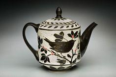 Karen Newgard - lovely lovely Bird-Small Teapot; porcelain and red underglaze, 8x8x5 in. $245.