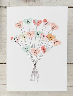 carte des fetes des meres, bouquet de coeurs sur une carte diy avec message